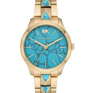 Michael Kors NWT Mercer Turquoise Gold watch